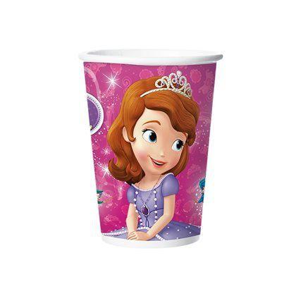Copo de Papel Decorado Princesinha Sofia c/08 unidades - 180 ml