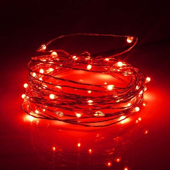 Cordão Luz de Fada Cor Vermelha - 2 metros