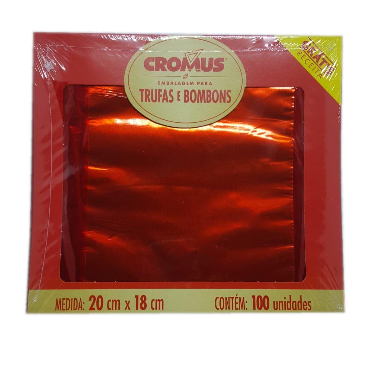 Embalagem p/ Trufas e Bombons Liso Vermelho 20 cm x 18 cm c/100 unidades