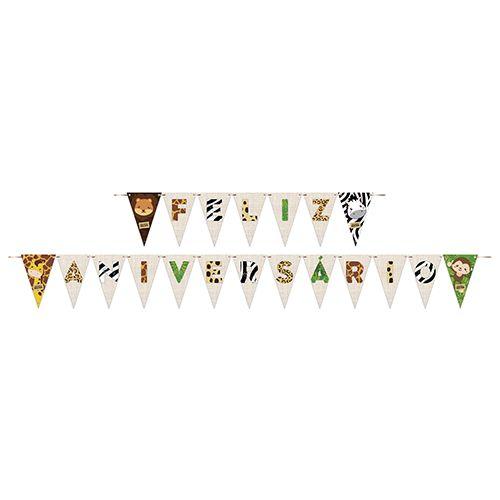 Faixa Feliz Aniversário Bem-Vindo À Selva