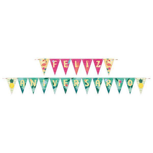 Faixa Feliz Aniversário Flamingo
