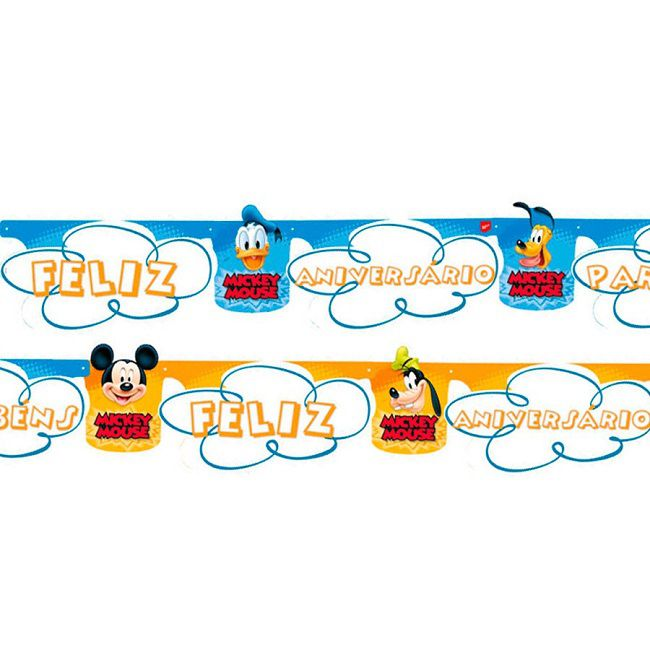 Faixa Feliz Aniversário Mickey Diversão c/01 unidade