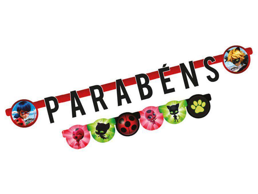 Faixa Parabéns Miraculous Ladybug