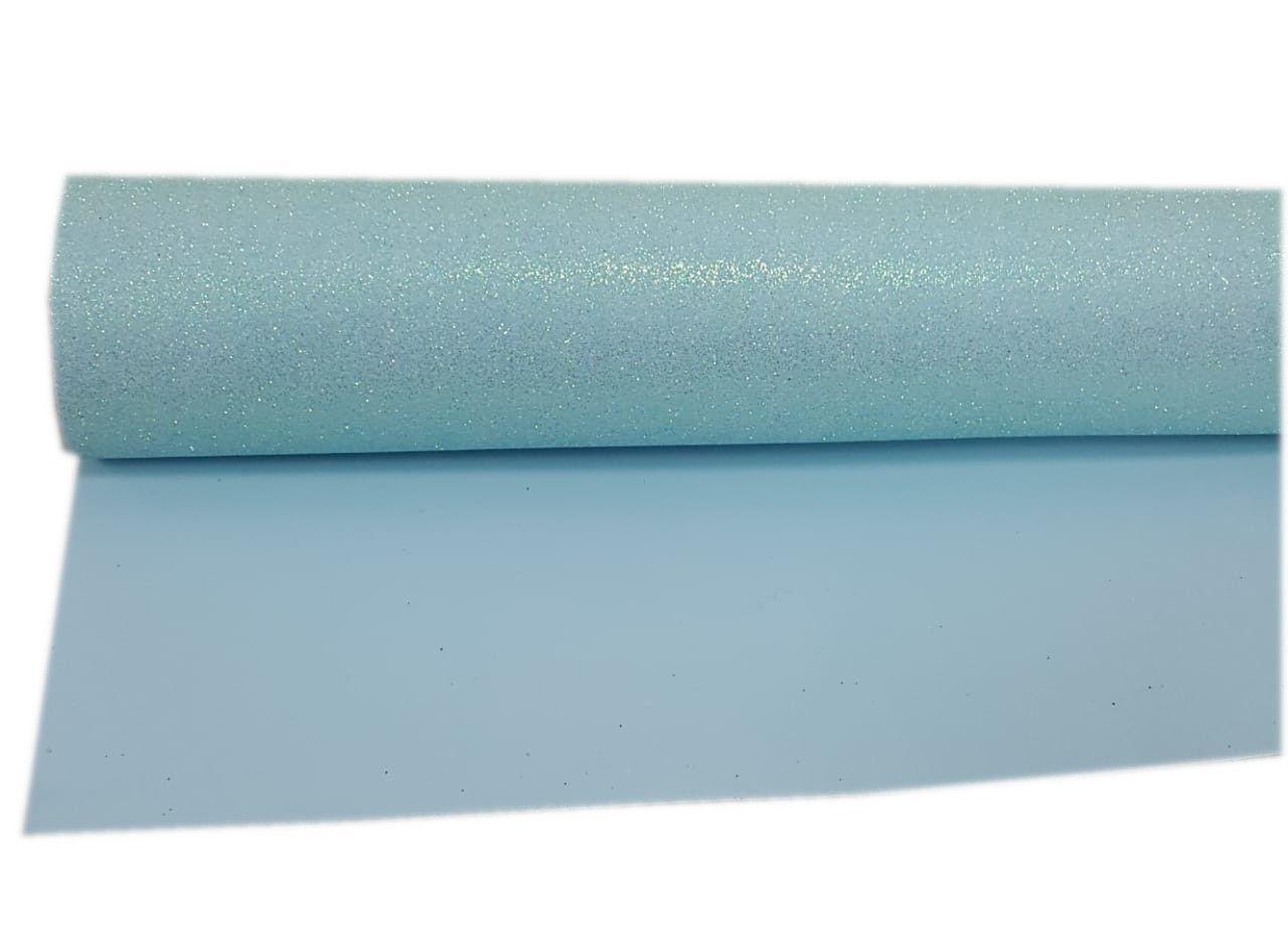 Folha E.V.A Glitter Cor Azul Bebê 40 cm x 59 cm - unidade