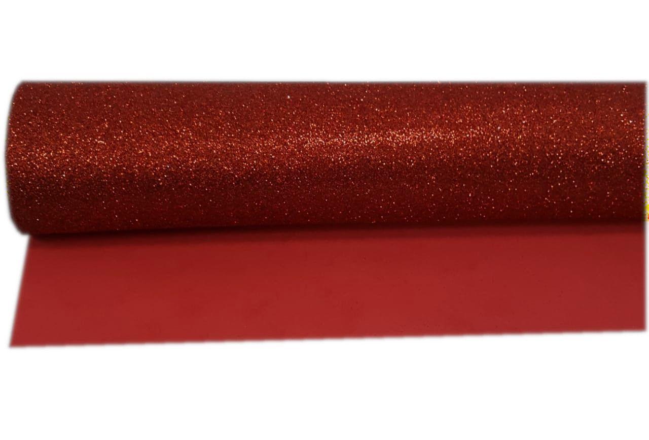 Folha E.V.A Glitter Cor Vermelho 40 cm x 59 cm - unidade