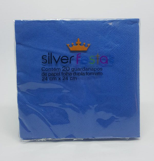 Guardanapo Silver Festas Azul 24 cm x 24 cm c/20 unidades