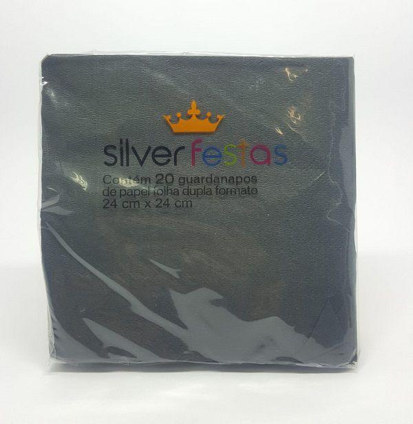 Guardanapo Silver Festas Preto 24 cm x 24 cm c/20 unidades