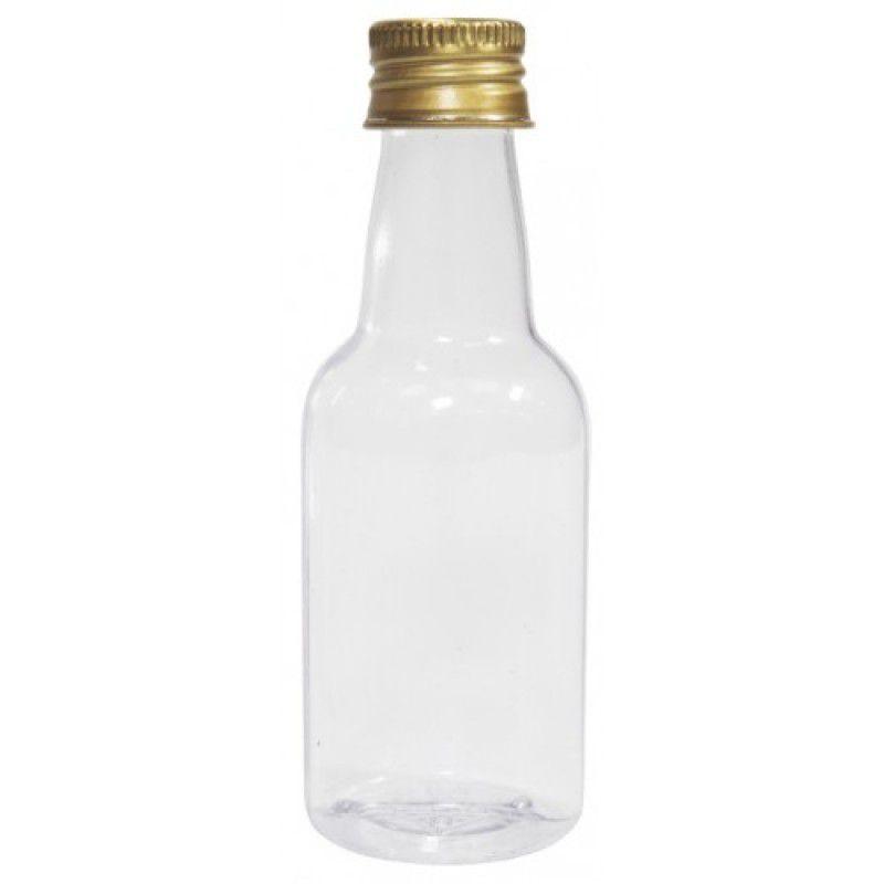 Mini Garrafinha Plástica c/ tampa ouro 50 ml -10 unidades
