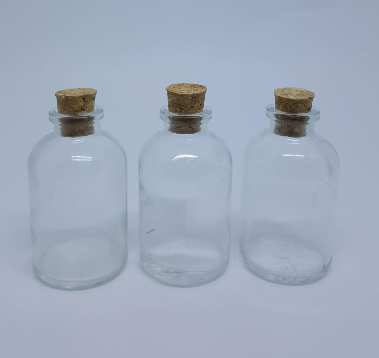 Mini Garrafinha vidro c/ tampa rolha 30 ml -10 unidades