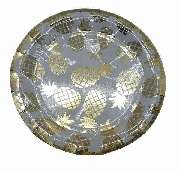 Prato de Papel Silver Plastic Abacaxi Dourado 18 cm c/10 unidades