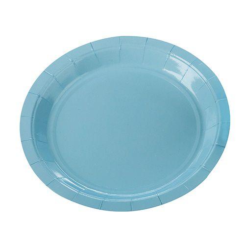 Prato de Papel Silver Plastic Azul Claro 18 cm c/10 unidades