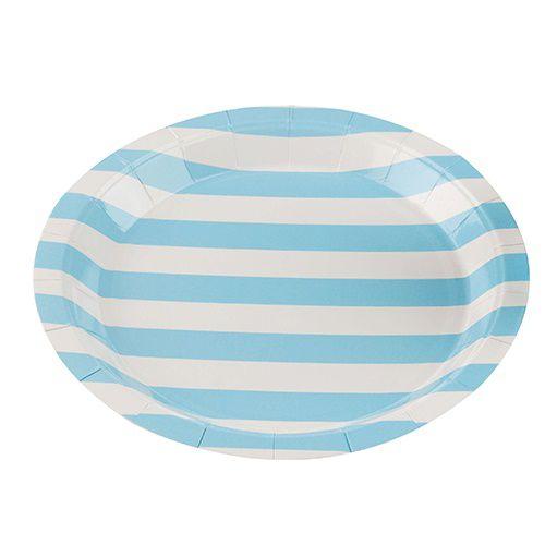 Prato de Papel Silver Plastic Listrado Azul Claro 18 cm c/10 unidades