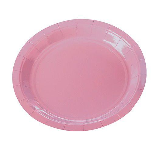 Prato de Papel Silver Plastic Rosa Claro 18 cm c/10 unidades