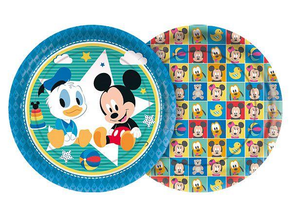 Prato Decorado Baby Disney Mickey  c/08 unidades