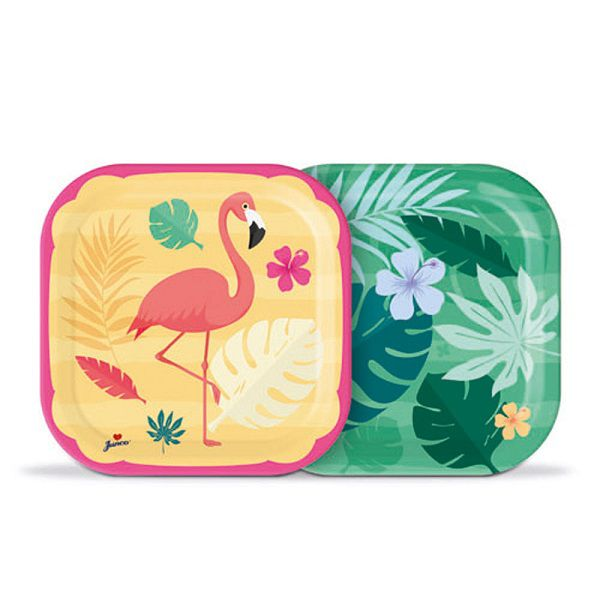 Prato Decorado Flamingo c/08 unidades