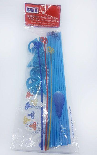 Suporte para balão Azul sólido c/10 - 30 cm