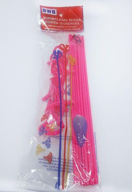 Suporte Para Balão Rosa Sólido c/10 - 30 cm