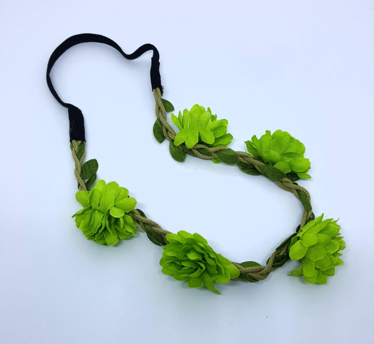 Tiara Coroa de Flores Verde - unidade