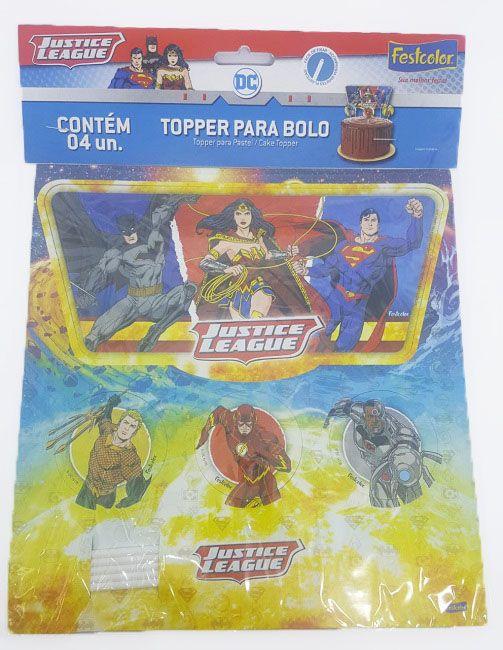 Topper Para Bolo Liga da Justiça c/04 unidades