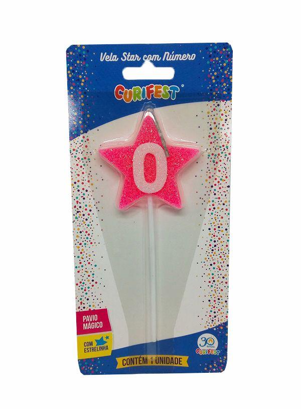 Vela Star com Número 0 - unidade
