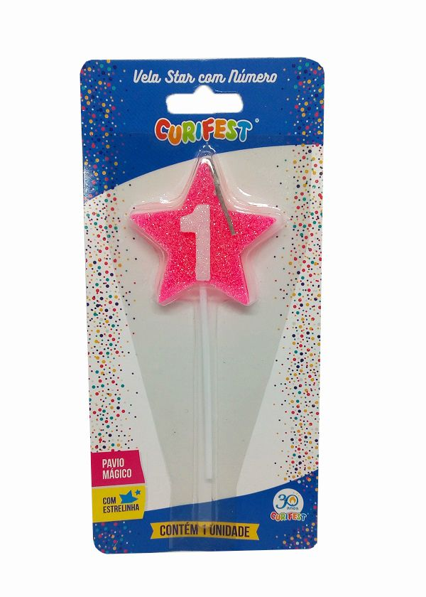 Vela Star com Número 1 - unidade