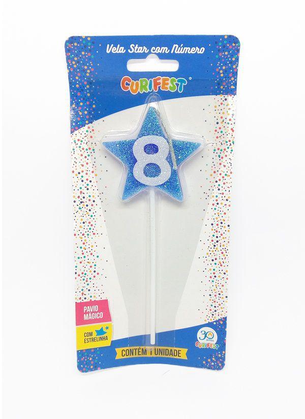 Vela Star com Número 8 - unidade