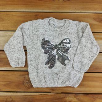 Blusa de Tricô Infantil Mescla de Laço com Lantejoulas