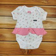 Body Curto Baby Branco de Rosas com sainha