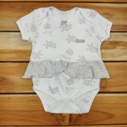 Body Curto Baby Branco de Rosas