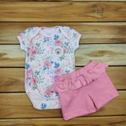 Body Curto Baby Rosa Floral