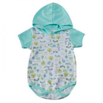 Body Curto bebê Verde Carros
