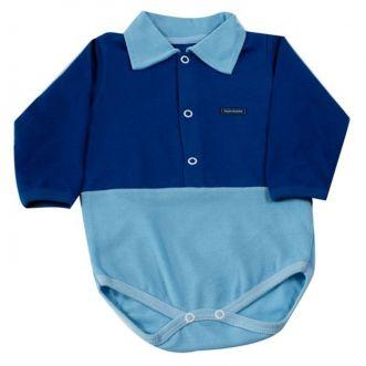 Body Bebê Longo Polo Azul Royal