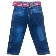Calça Jeans Kids Azul Escuro Cinto Cores Sortidas