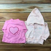 Conjunto Baby 2 Pçs Casaco Rosa e Salmão