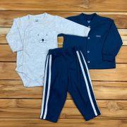 Conjunto Baby Casaco Body e Calça Azul