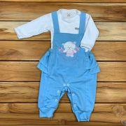 Conjunto Baby Jardineira e Body Azul