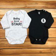 Conjunto Body 2 Pçs Preto e Mescla Baby Star