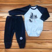Conjunto Calça e Body Azul de Plush