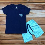 Conjunto Curto Kids Azul Tubarão