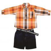 Conjunto Shorts e Camisa Xadrez Laranja