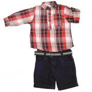 Conjunto Shorts e Camisa Xadrez Vermelho