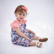 Jardineira Baby Rosa Floral com camiseta