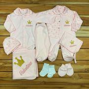kit 5- Saída Maternidade - 9 peças - Personalizado Nome do bebê