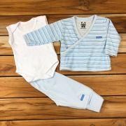 Kit Baby 3 Pçs Casaco Body e Calça Azul