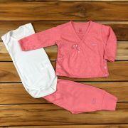 Kit Baby 3 Pçs Casaco Body e Calça Rosa