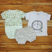 Kit Camiseta Body e Shorts Baby Floresta