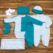 Kit Sáida Maternidade Verde - 9 peças