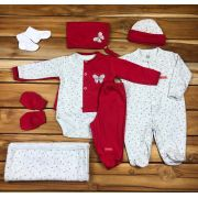 Kit Sáida Maternidade Vermelho - 9 peças