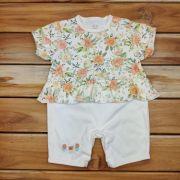 Macacão Baby Cru Floral