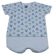 Macacão Curto Baby Azul Tipo Body